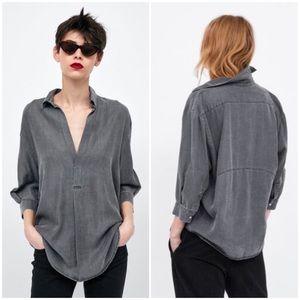 | Zara Woman | 100% Lyocell Flowing V Neck Shirt